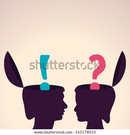 Illustration of thinking concept - human head with exclamatory symbol and question mark - stock vector