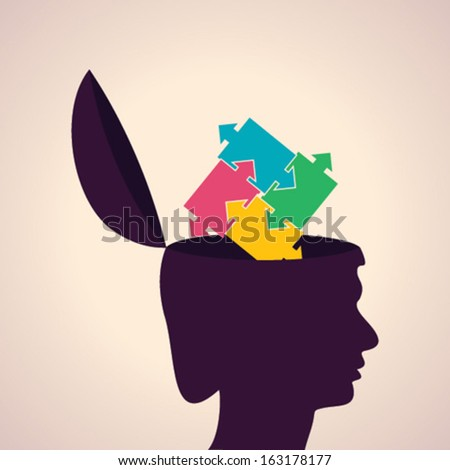 Illustration of thinking concept - human head with puzzle symbol - stock vector