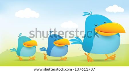 Illustration of Three Bird walking together - stock vector