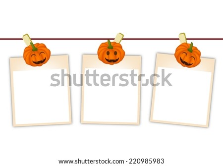 Illustration of Three Blank Instant Photo Prints or Instant Print Transfer Hanging on Jack-o-Lantern Pumpkin Clothespins, Sign for Halloween Celebration.  - stock vector