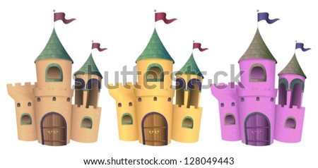 Illustration of three castles on a white background - stock vector