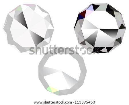 Illustration of three diamonds, jewel stone vector icon - stock vector