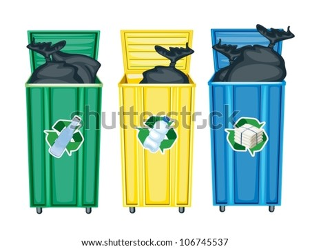 illustration of three dustbins on a white background - stock vector