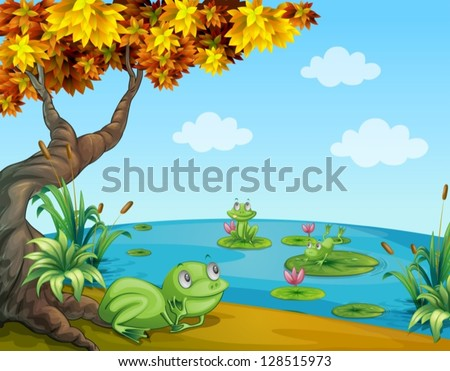 Illustration of three green frogs at the pond - stock vector