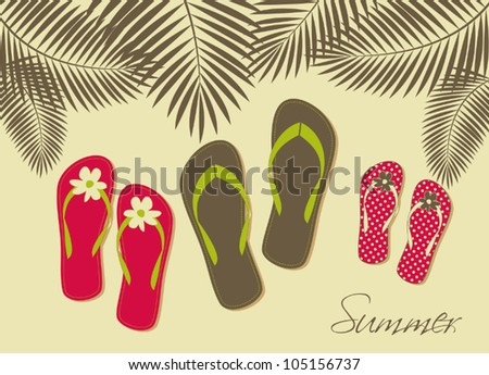 Illustration of three pairs of flip-flops on the beach. Family summer vacation concept. - stock vector