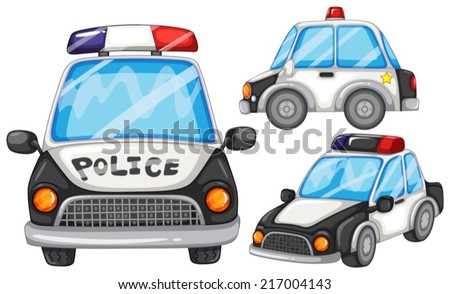 illustration of three police cars - stock vector