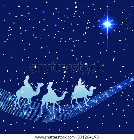 Illustration of three wise men silhouette and stars - stock vector