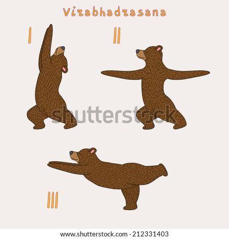 Illustration of three yoga bears - virabhadrasana pose eps 10 file - stock vector