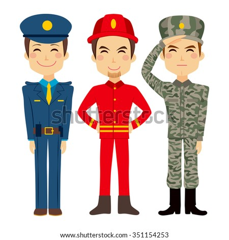 Illustration of three young worker people characters of different public service and military professions - stock vector