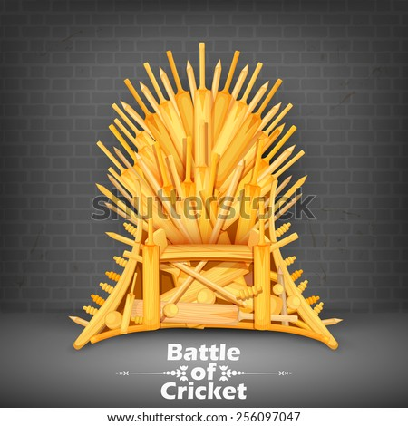 illustration of Throne made of Cricket bats - stock vector