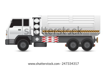 Illustration of tipper trucks isolated on white background. - stock vector