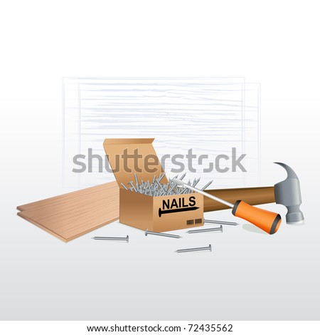 illustration of tool box with nails,screw driver and hammer - stock vector