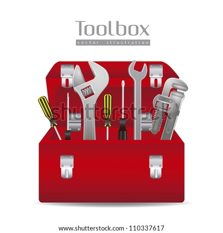 Illustration of tools, with a pipe wrenches, hammer, screwdrivers and tool box, vector illustration - stock vector