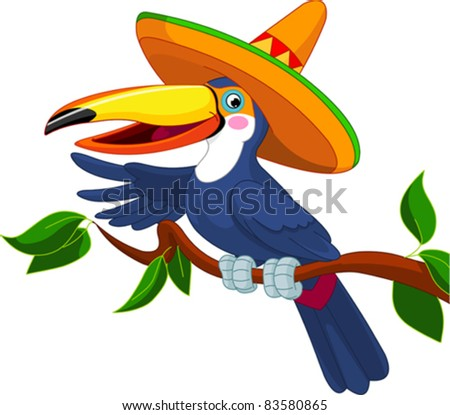 Illustration of toucan with sombrero sitting on tree branch - stock vector
