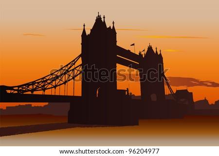 Illustration of Tower Bridge in London at sunset - stock vector