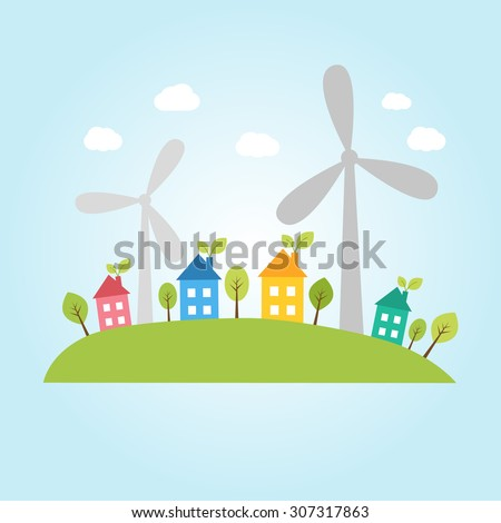 Illustration of town with wind power plants - stock vector
