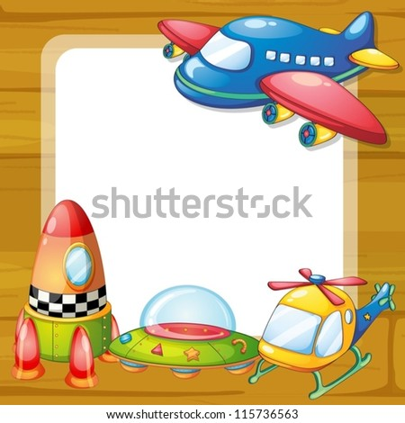 illustration of toys and a board on a white backgound - stock vector