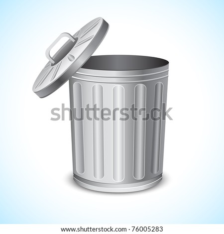 illustration of trash can on abstract background - stock vector