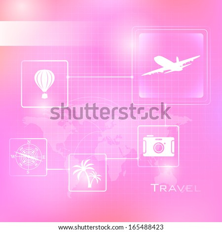 illustration of travel background with flying airplane - stock vector