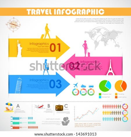illustration of Travel Infographic Chart for presentation - stock vector