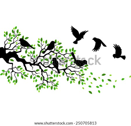 Illustration of tree and bird silhouettes - stock vector