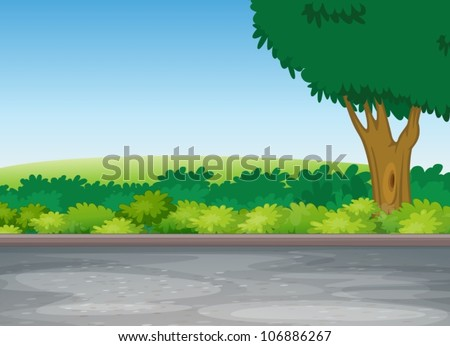 illustration of tree beside road in a beautiful nature - stock vector