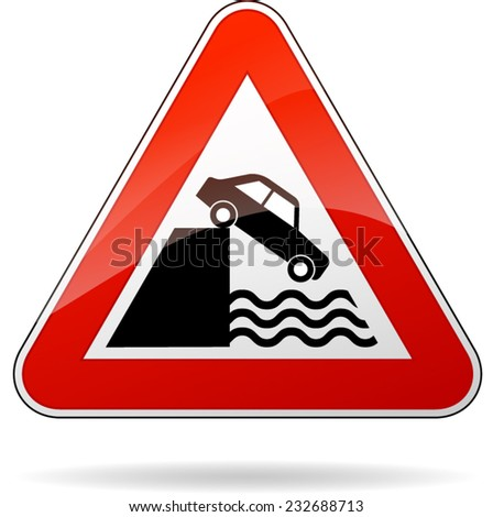 illustration of triangular isolated sign for water warning - stock vector