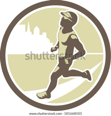 Illustration of triathlete marathon runner running facing side view with buildings in background set inside circle on isolated done in retro style. - stock vector