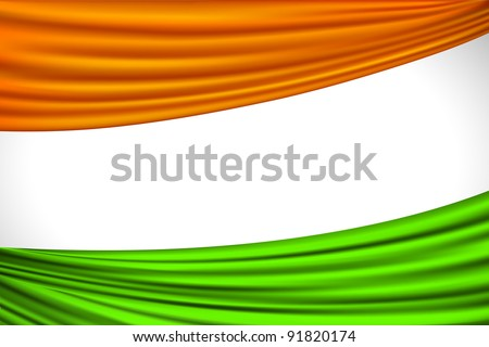illustration of tricolor Indian flag made of curtain draper - stock vector