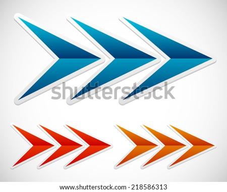 Illustration of triple arrows. Arrows right. - stock vector