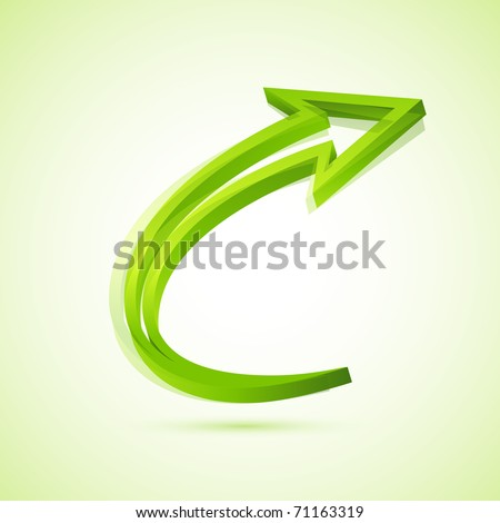 illustration of twisted arrow on isolated background - stock vector