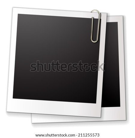 Illustration of two blank phot frames - stock vector