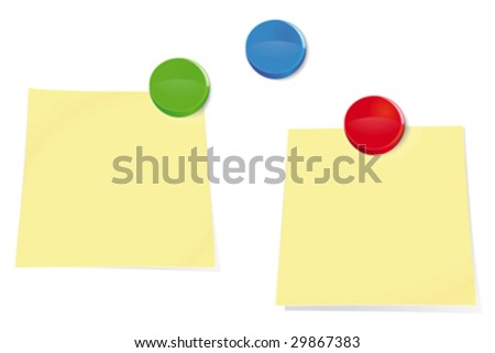 Illustration of two blank sticky notes and colorful push pins on a bulletin board - stock vector