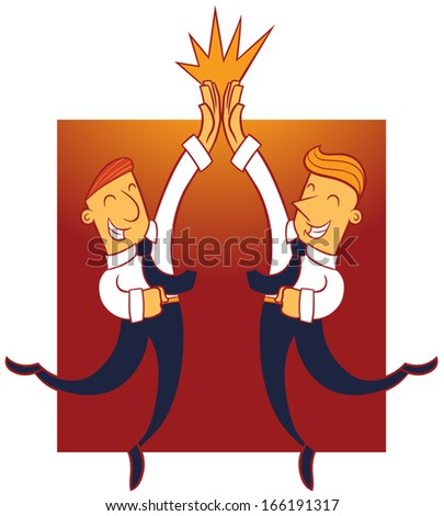Illustration of two business men giving each other a high five - stock vector