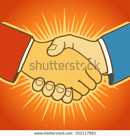 Illustration of two businessmen shaking hands. Good deal - stock vector