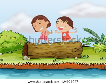 Illustration of two children playing on top of a log - stock vector