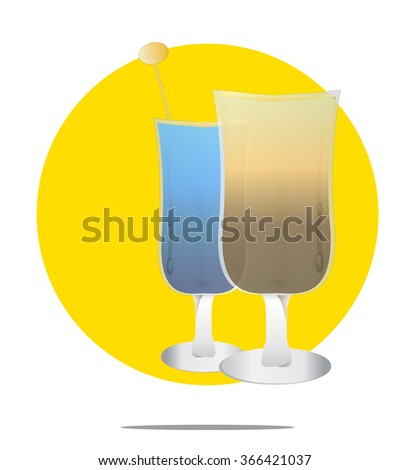 Illustration of two cocktails with yellow circle background - stock vector