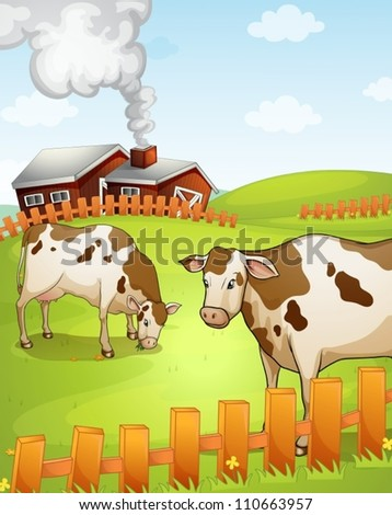 illustration of two cows in the nature - stock vector
