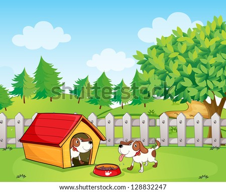 Illustration of two dogs inside the wooden fence - stock vector