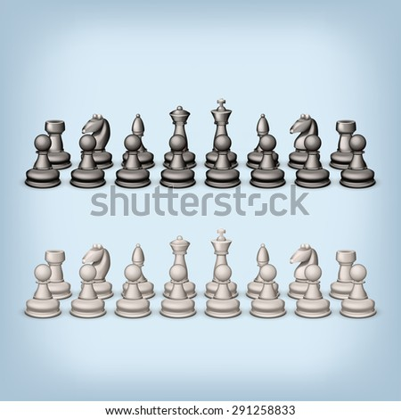 illustration of two full package of white and black figures of chess - stock vector