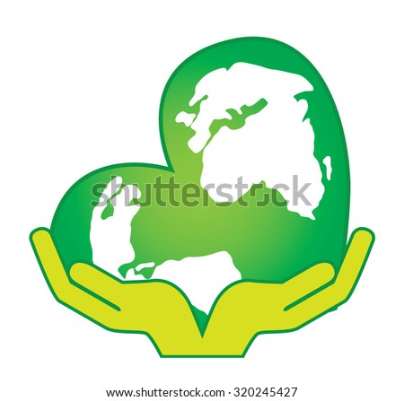 Illustration of two hands that are holding a green globe heart shaped - stock vector