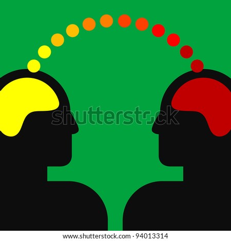 illustration of two human heads with brains - stock vector