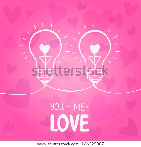 illustration of two light bulbs symbol of love - stock vector