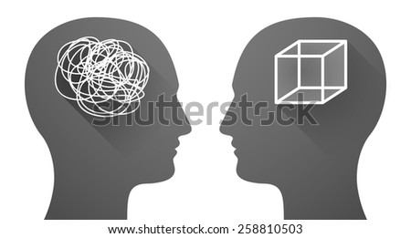 Illustration of two men heads with a doodle and a cube - stock vector