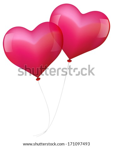 Illustration of two realistic looking pink balloons, which seem to fall in love. - stock vector
