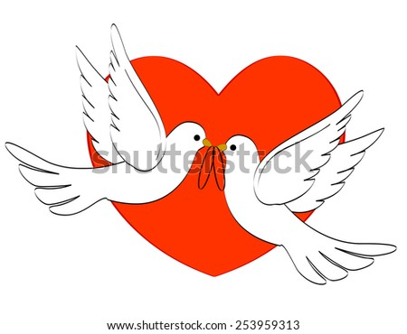 Illustration of two white pigeons / doves carrying two wedding rings on red heart background  - stock vector
