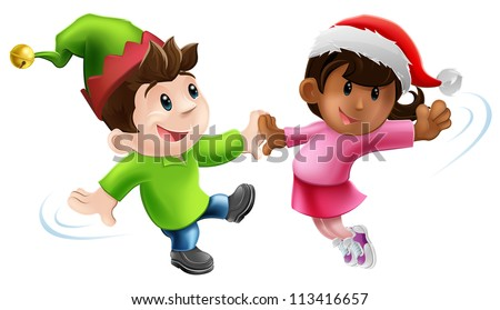Illustration of two young people in Christmas costume having a dance together - stock vector