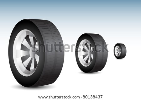 illustration of tyre rolling on floor on abstract background - stock vector
