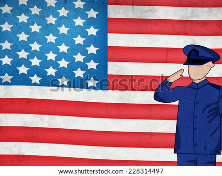 Illustration of U.S.A Flag with Soldier for Veterans Day - stock vector