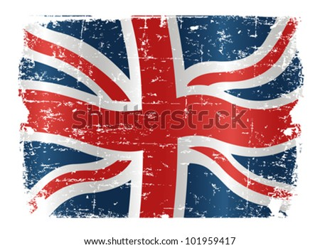 Illustration of UK flag with a texture - stock vector